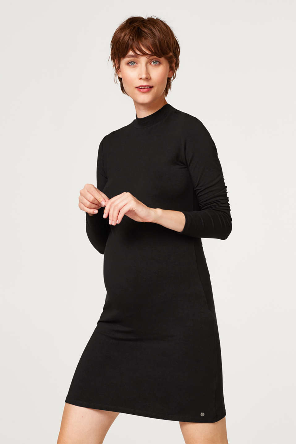 Stretch jersey dress with a stand-up collar, LCBLACK, detail image number 5
