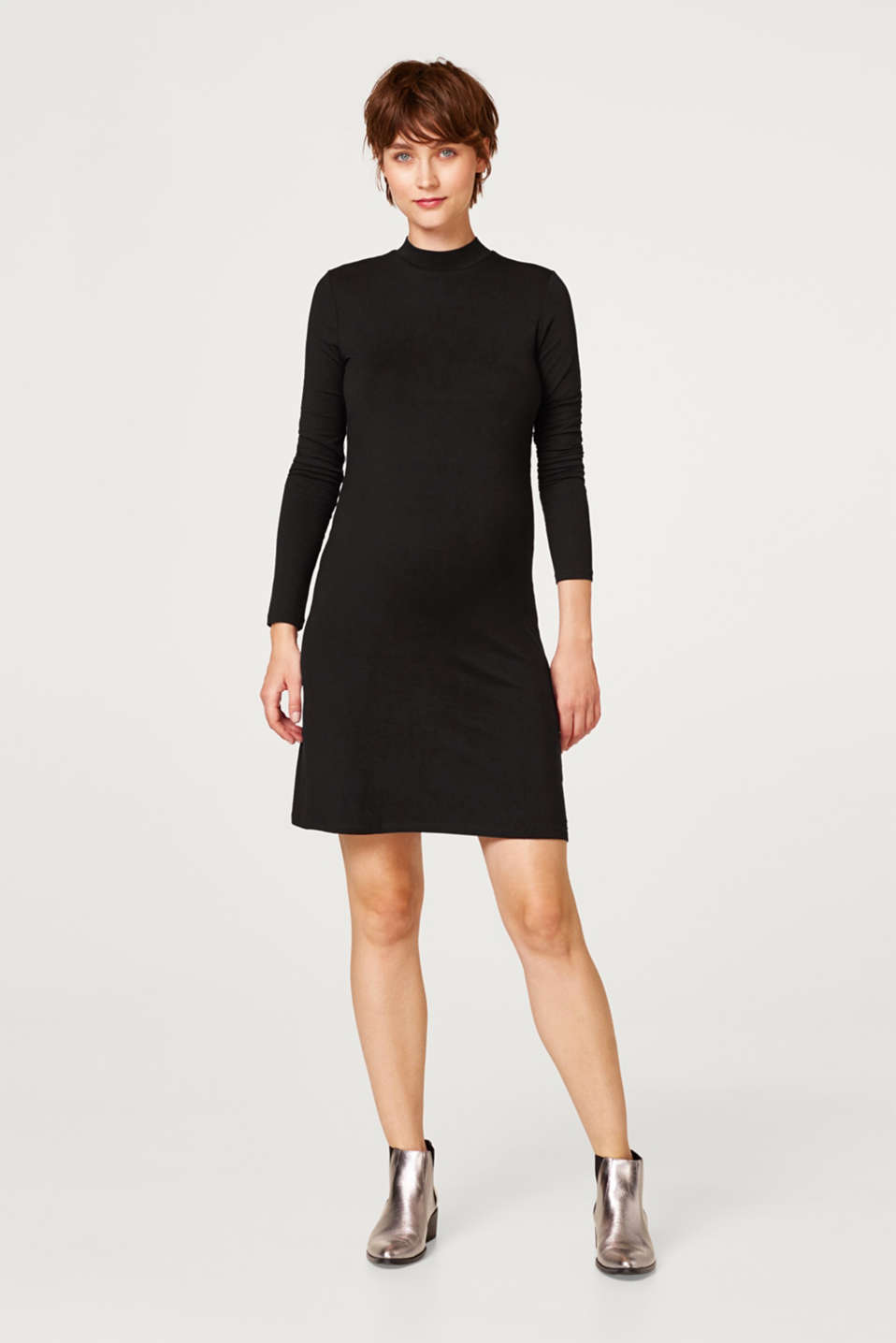 Stretch jersey dress with a stand-up collar, LCBLACK, detail image number 1