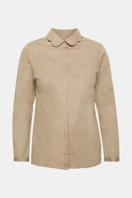 Blouse with a turn-down collar in stretch cotton, LCREAL OLIVE, detail
