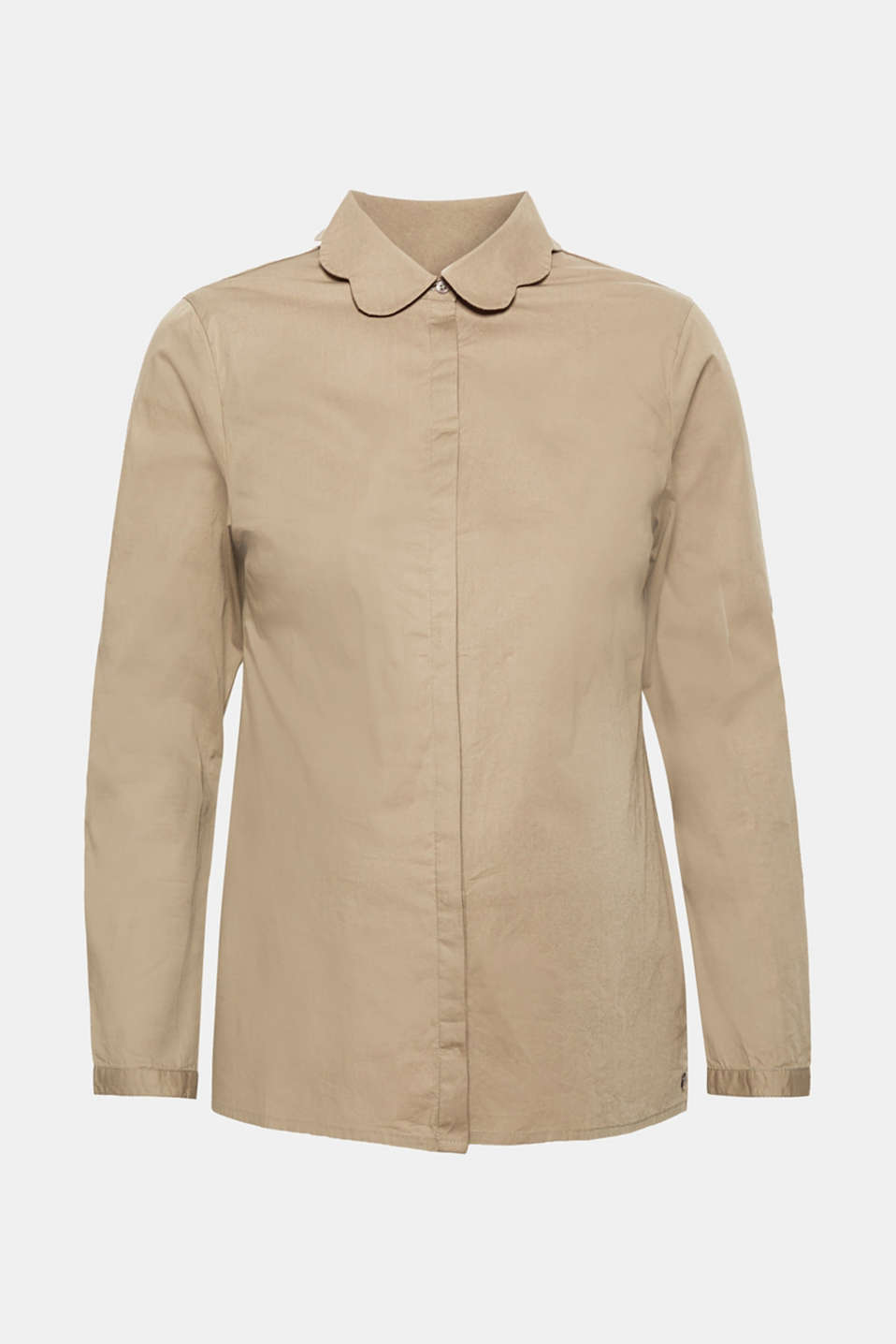 Blouse with a turn-down collar in stretch cotton, LCREAL OLIVE, detail image number 0