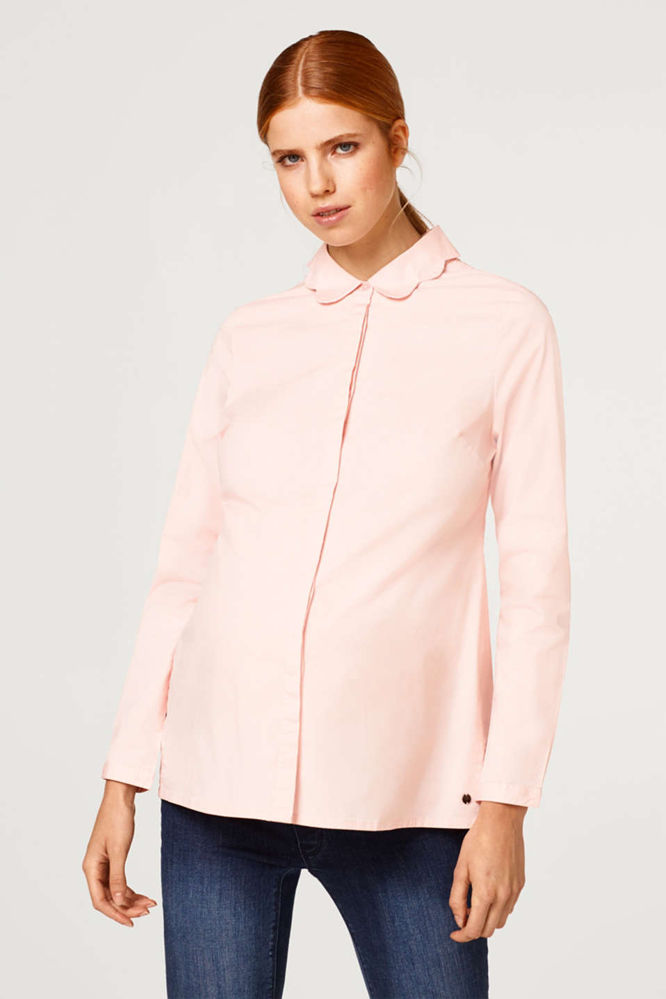 Esprit - Blouse with a turn-down collar in stretch cotton