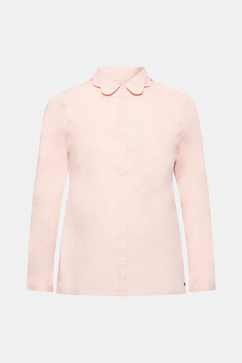 Blouse with a turn-down collar in stretch cotton