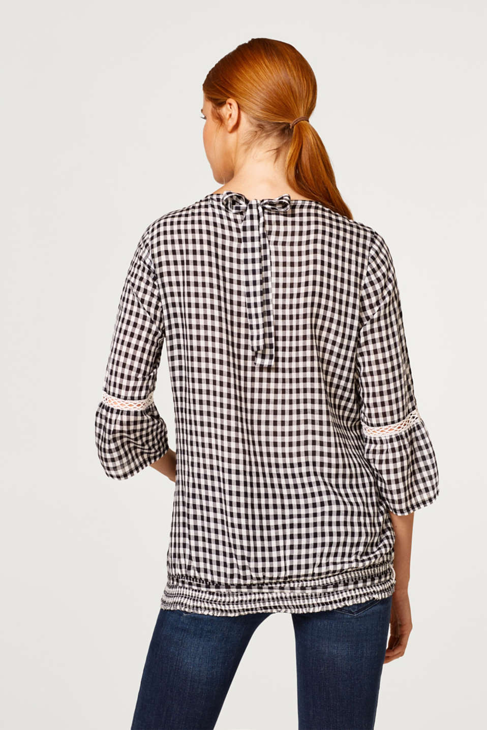 Delicate gingham blouse with an elasticated hem, LCBLACK, detail image number 3