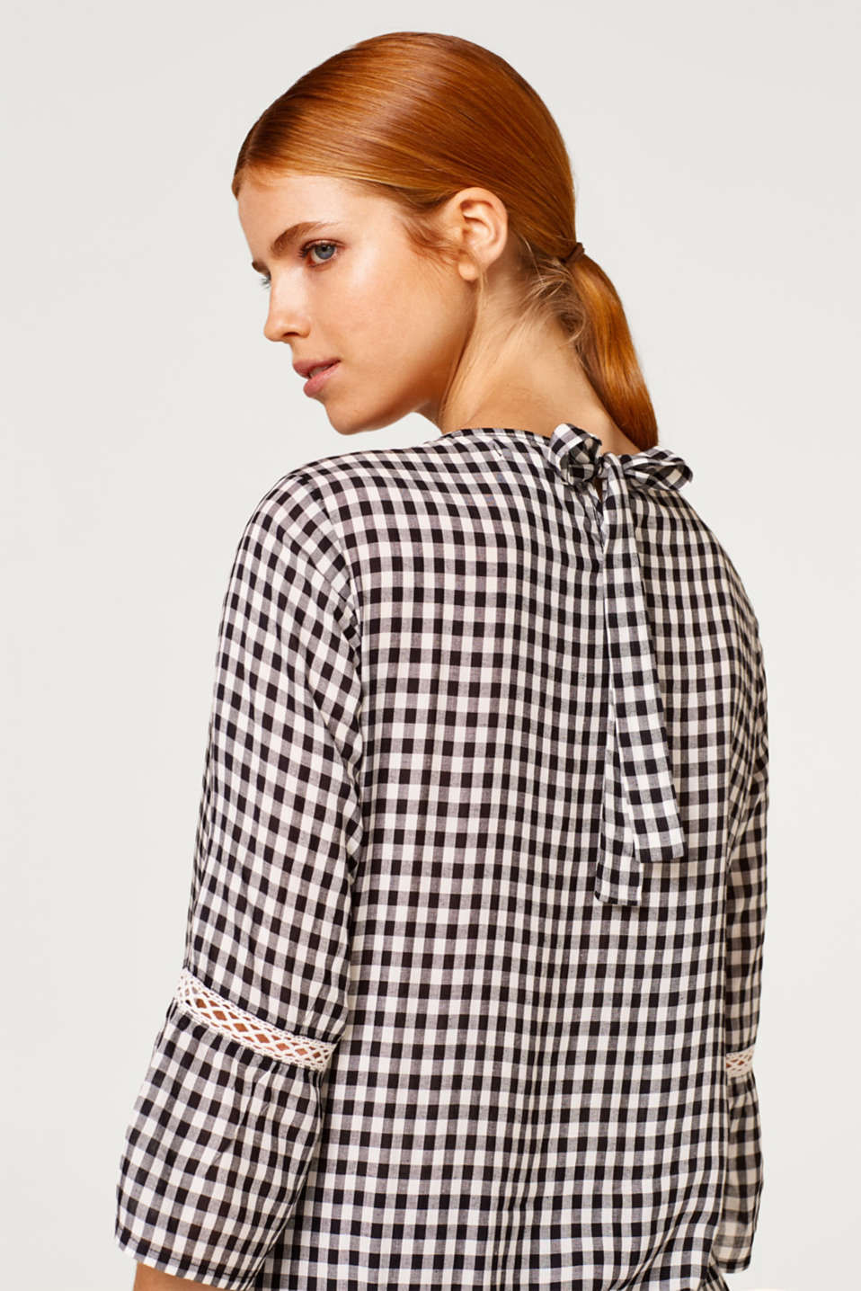 Delicate gingham blouse with an elasticated hem, LCBLACK, detail image number 5
