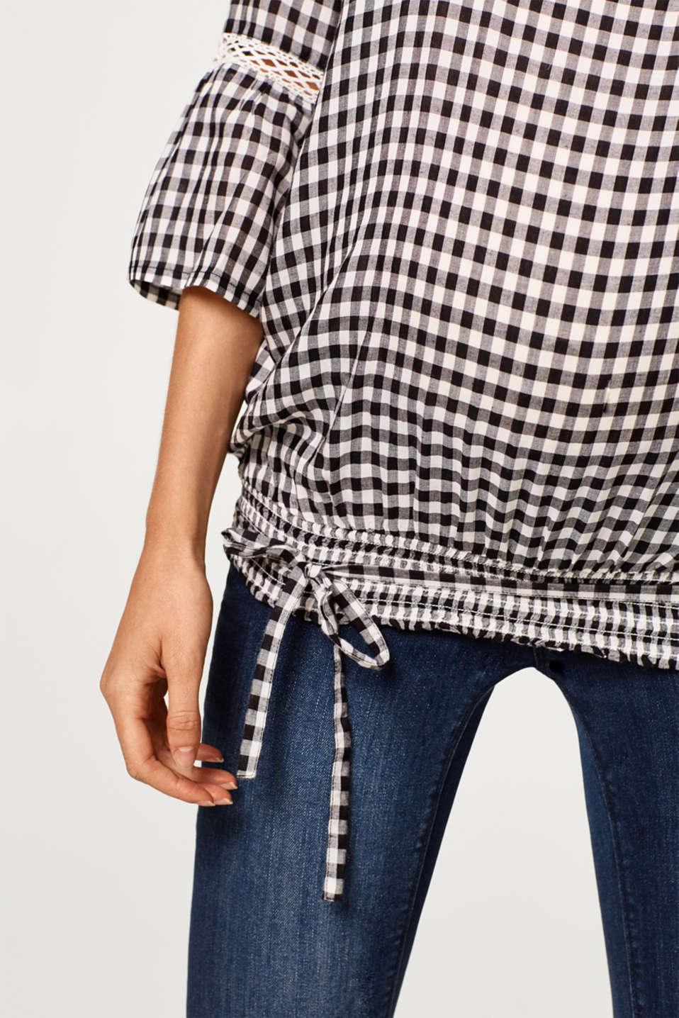 Delicate gingham blouse with an elasticated hem, LCBLACK, detail image number 2