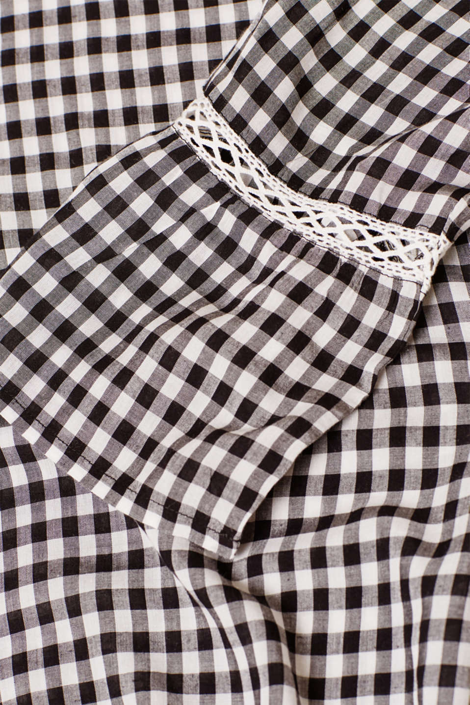 Delicate gingham blouse with an elasticated hem, LCBLACK, detail image number 4