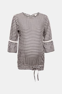 Delicate gingham blouse with an elasticated hem, LCBLACK, detail