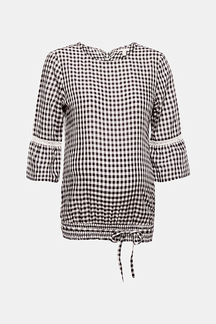 Delicate gingham blouse with an elasticated hem, BLACK, detail image number 0