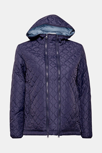 Adjustable quilted jacket with a hood