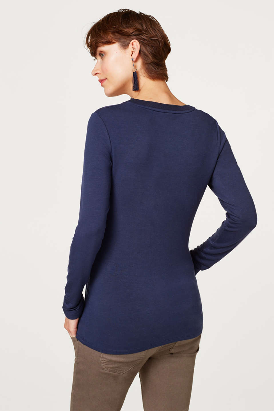 Stretch long sleeve top with open-work pattern trims, LCNIGHT BLUE, detail image number 3
