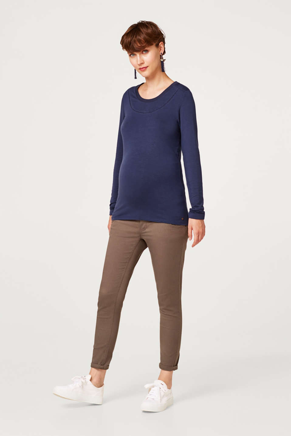 Stretch long sleeve top with open-work pattern trims, LCNIGHT BLUE, detail image number 1