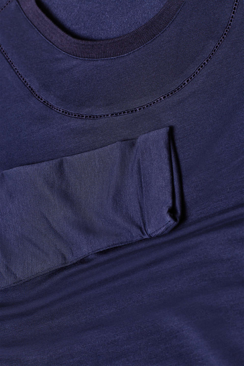 Stretch long sleeve top with open-work pattern trims, LCNIGHT BLUE, detail image number 4