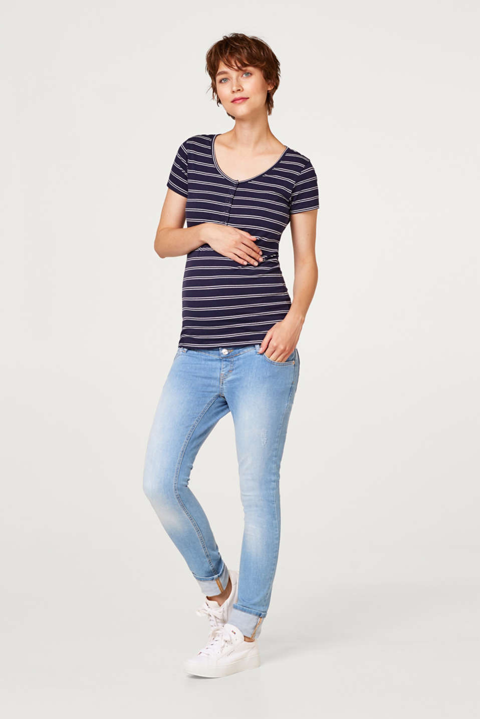 Stretch nursing T-shirt with sailor stripes