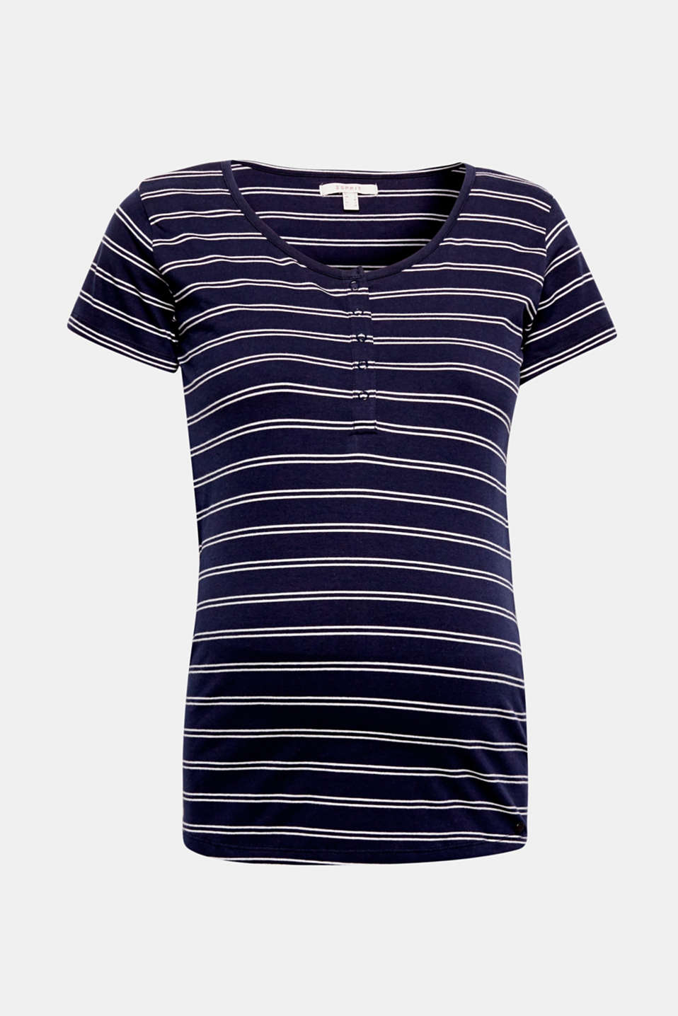 Comfy nautical look: soft and stretchy T-shirt made of premium, environmentally-friendly organic cotton with stripes, a press-stud placket and practical nursing access!