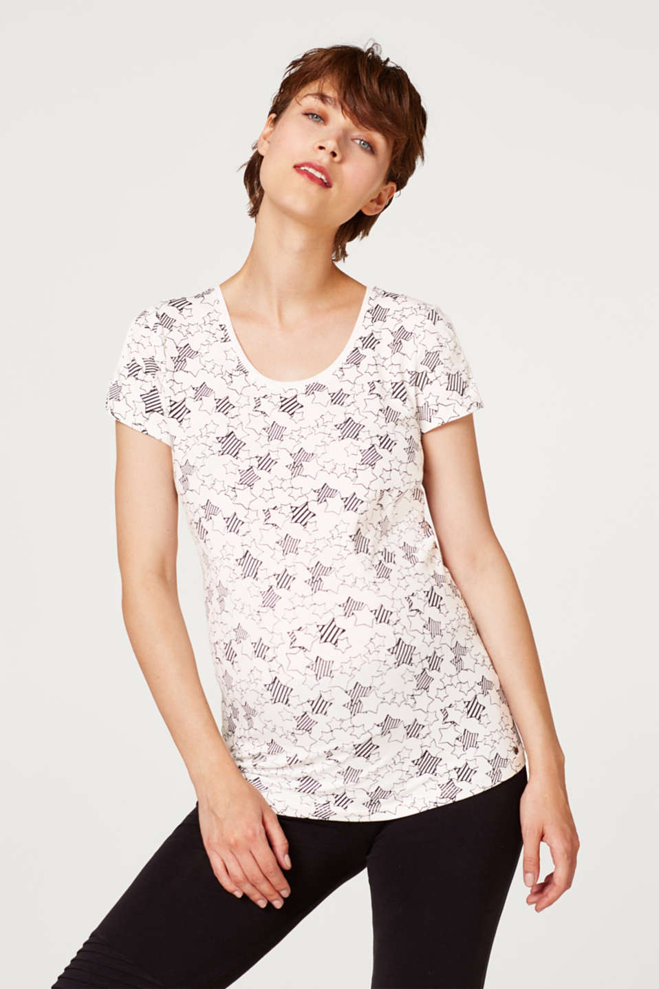 Esprit - Shirt met stretch en cut-outs