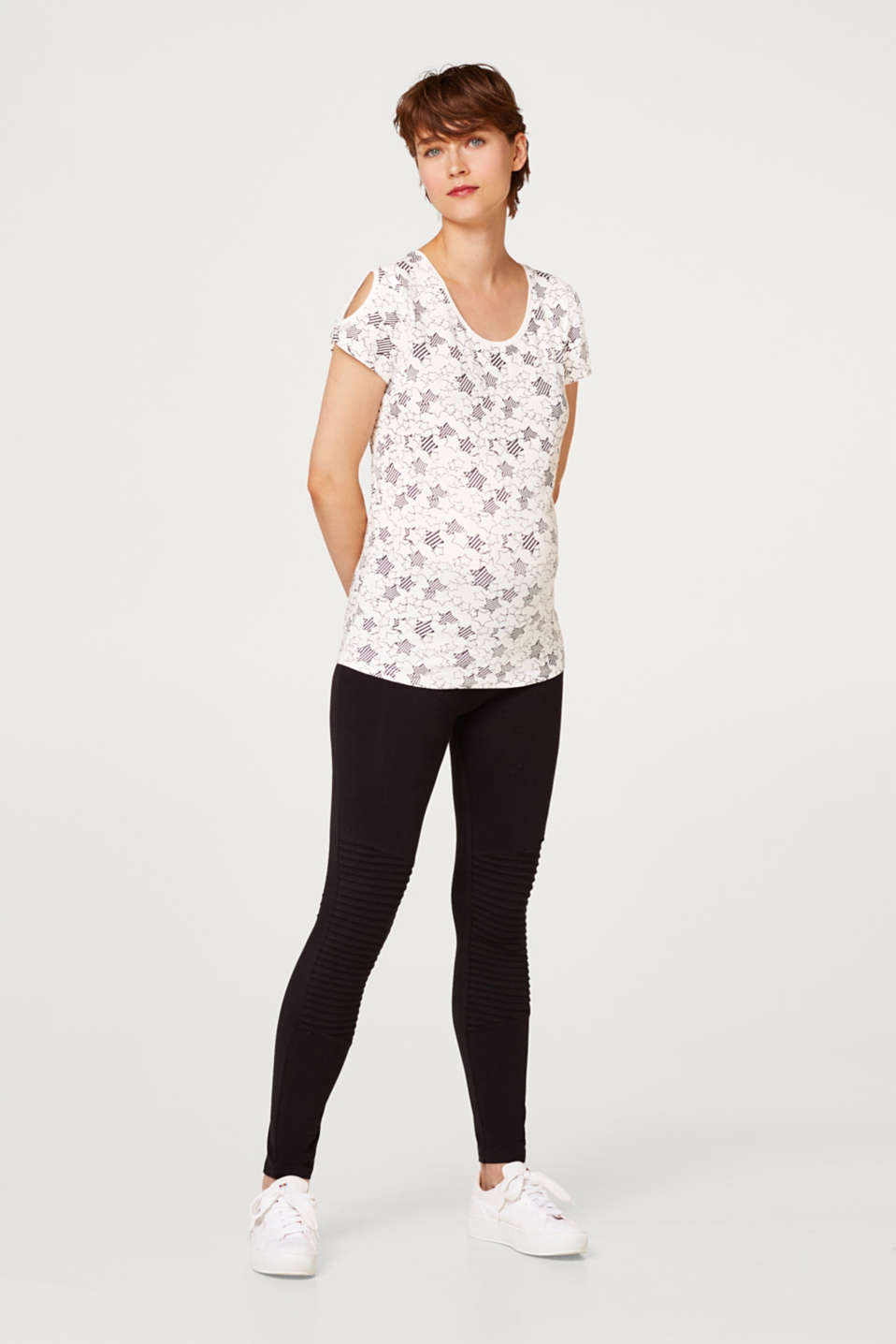 Stretch top with cut-outs
