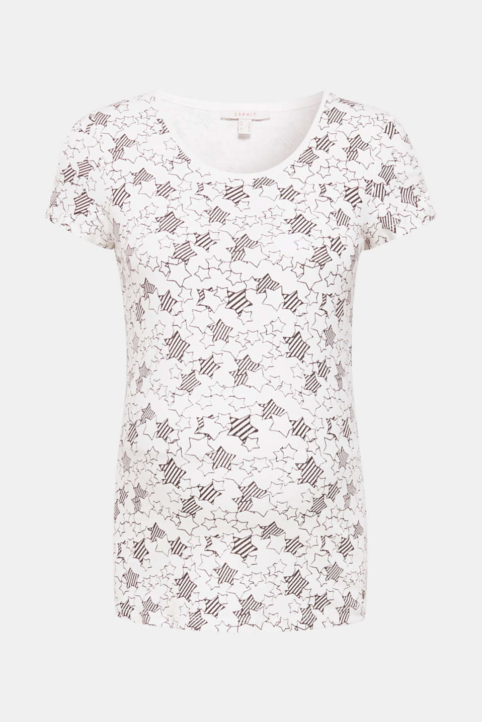Airy cut-outs on the sleeves and a decorative star print give this stretch top its incredibly trendy look!