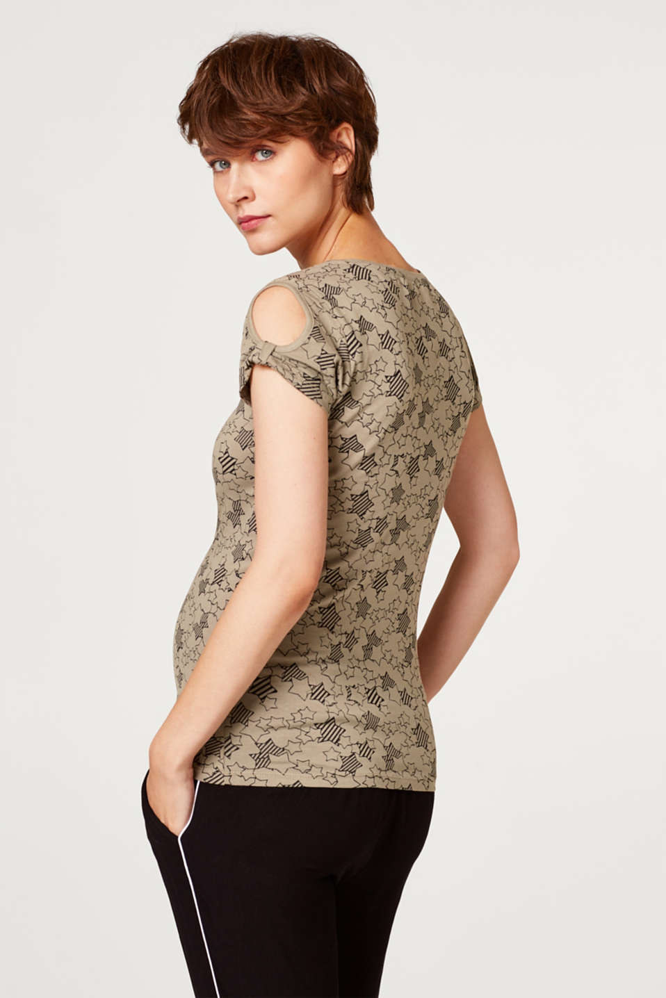 Stretch top with cut-outs, LCREAL OLIVE, detail image number 3