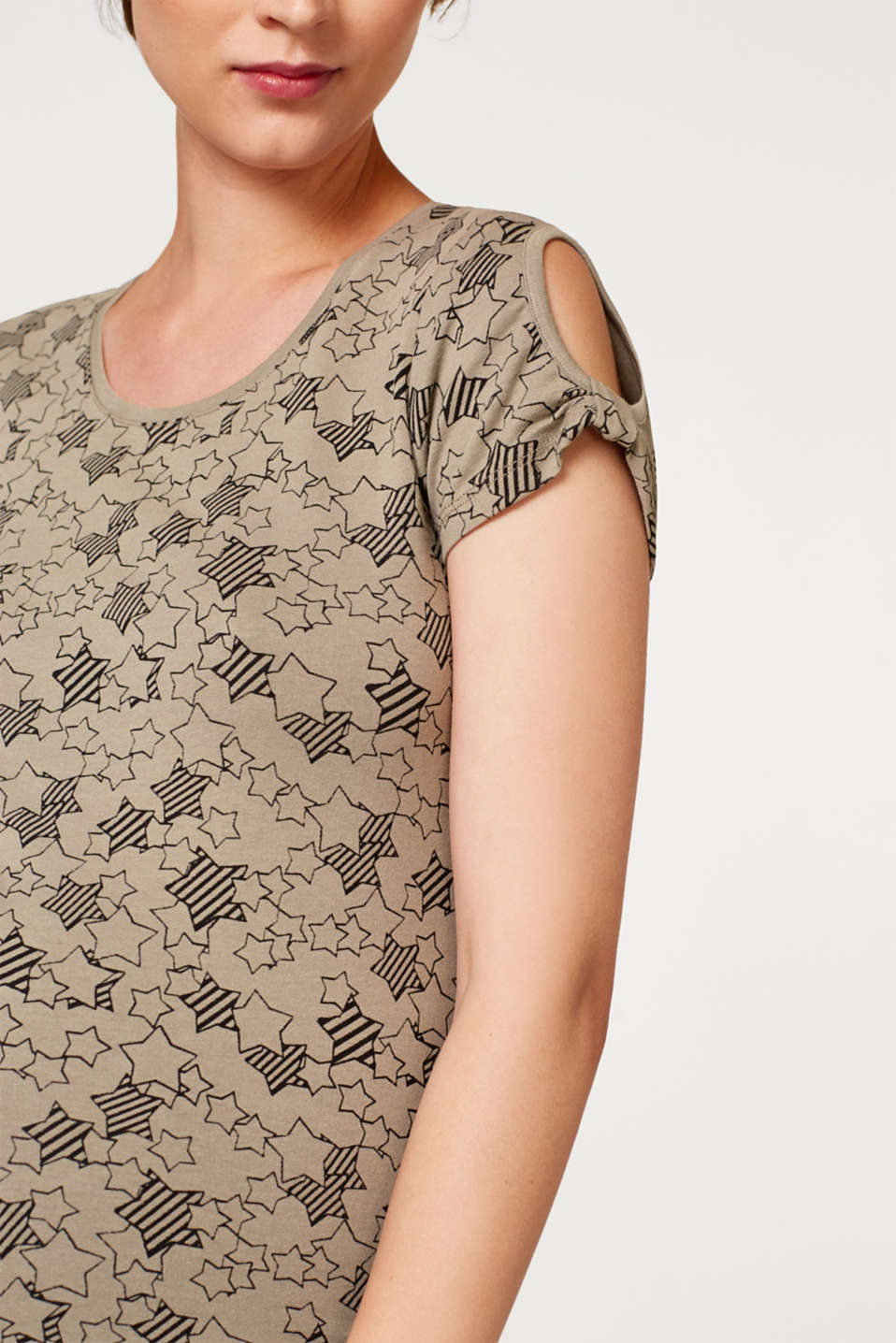 Stretch top with cut-outs, LCREAL OLIVE, detail image number 2