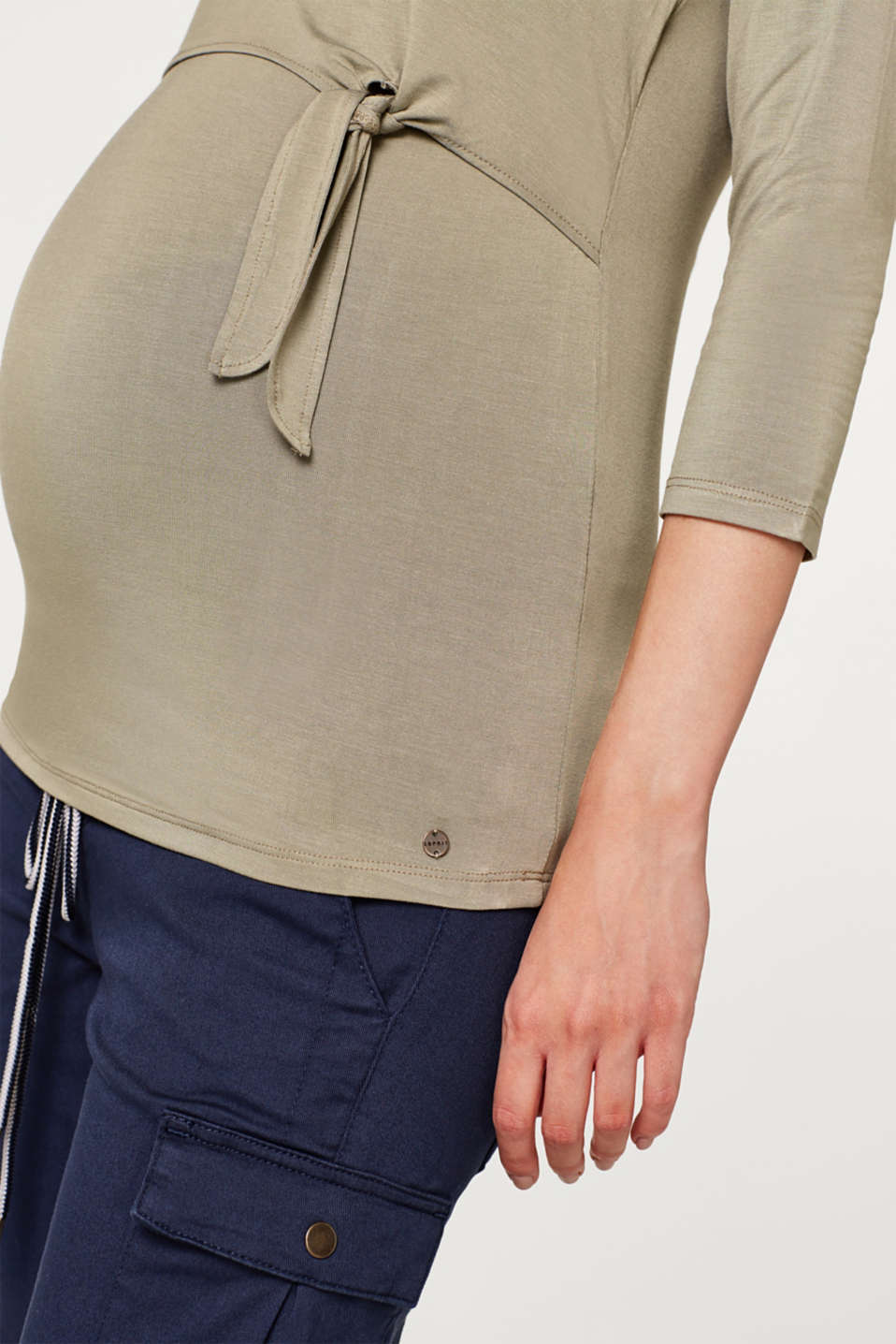 Nursing top with bow details, LCREAL OLIVE, detail image number 2