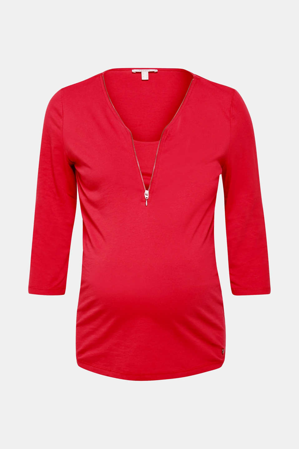 The zip at the neckline of this stretch T-shirt isn't just eye-catching but also makes nursing extremely easy.