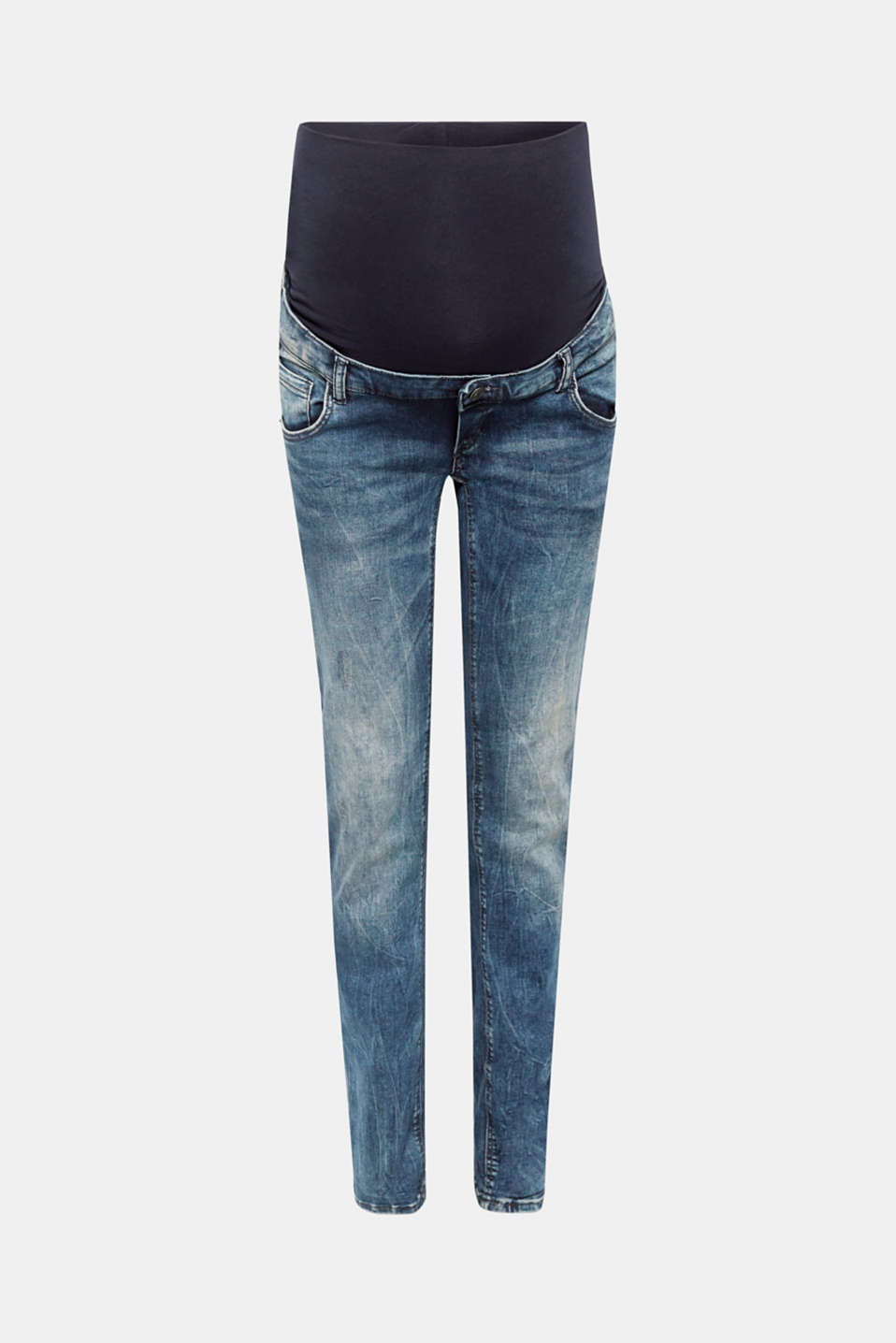 The straight, narrow legs and acid wash make these stretch jeans with a versatile over-bump waistband a fantastic fashion fave!