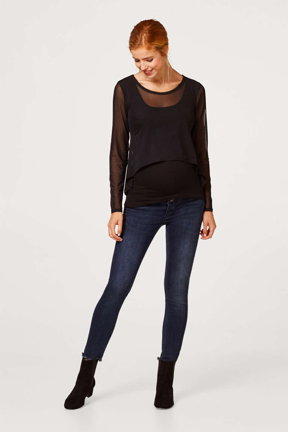 Esprit - Cropped stretch jeans with an over-bump waistband