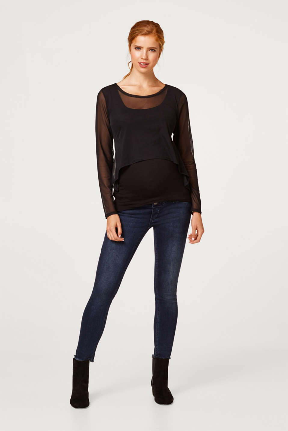 Cropped stretch jeans with an over-bump waistband