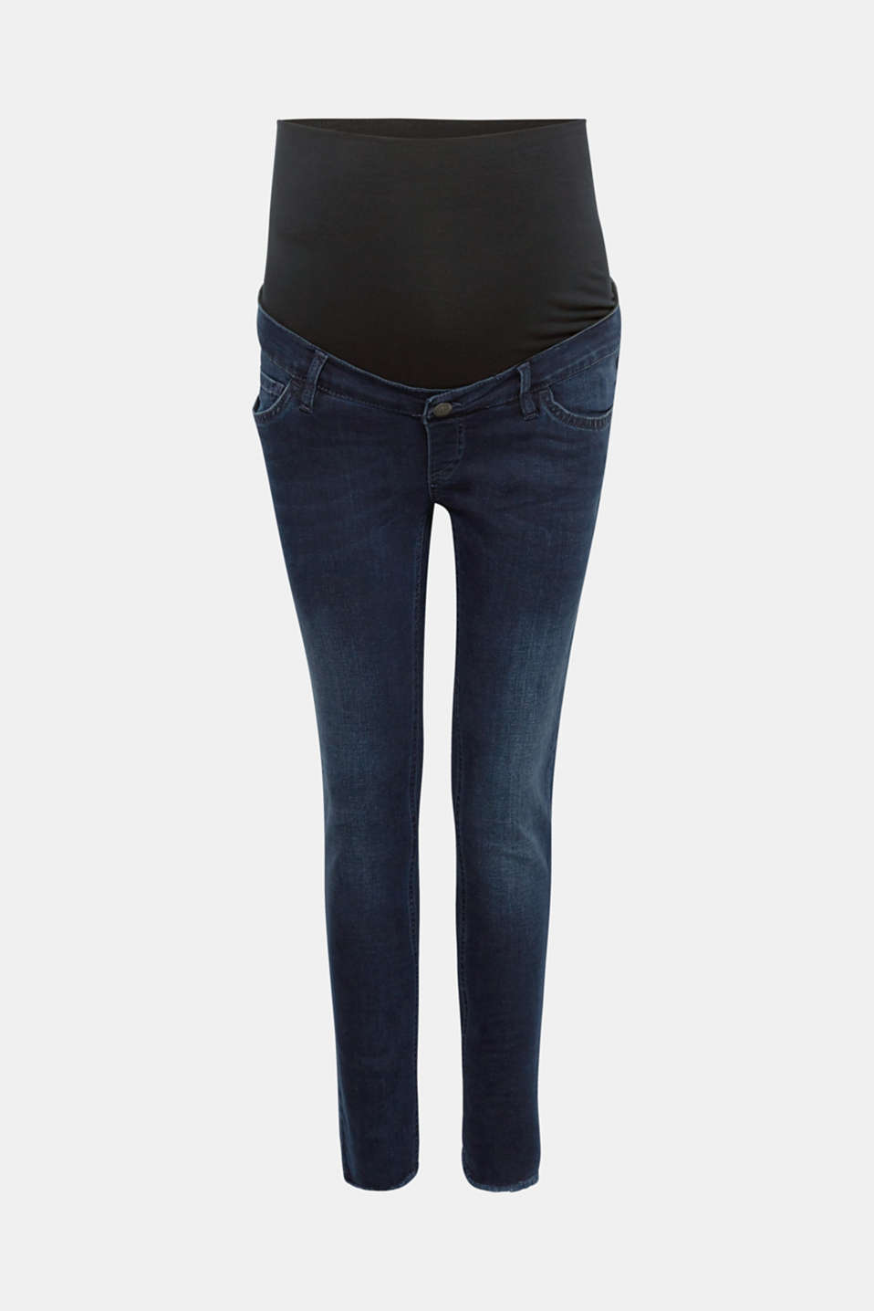 These slim fit stretch jeans owe their stylish look to the casual blue-black wash and cropped leg with frayed hems!