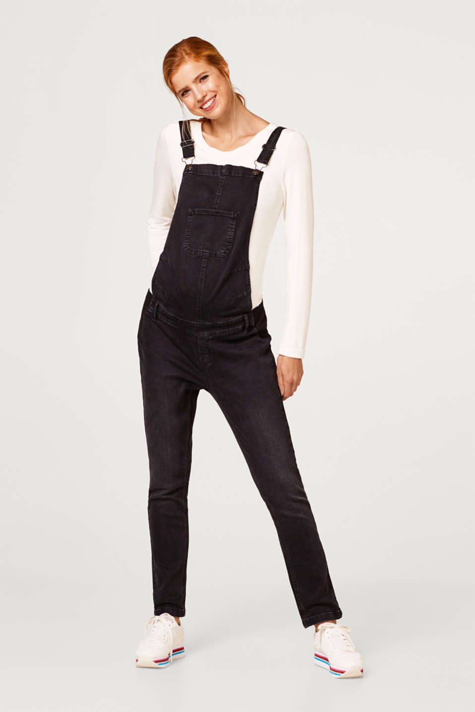 Stretch dungarees in robust black denim, LCBLACK DARKWASH, detail image number 0