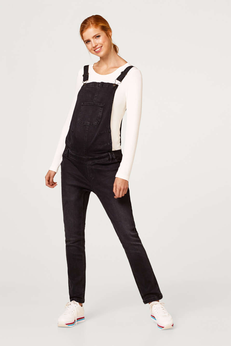 Stretch dungarees in robust black denim, LCBLACK DARKWASH, detail image number 1