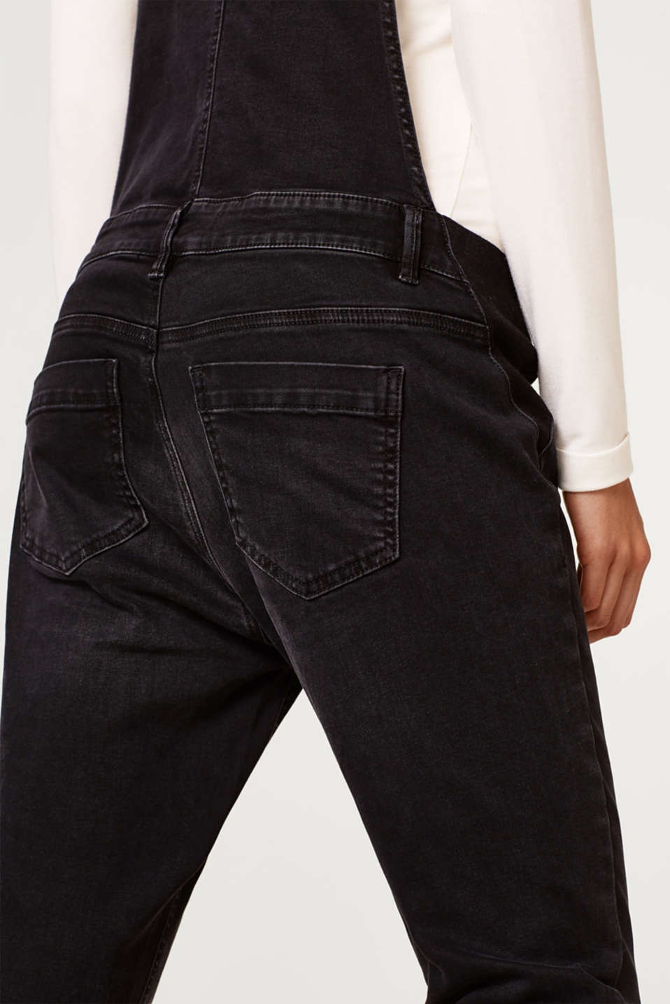 Stretch dungarees in robust black denim, LCBLACK DARKWASH, detail image number 2