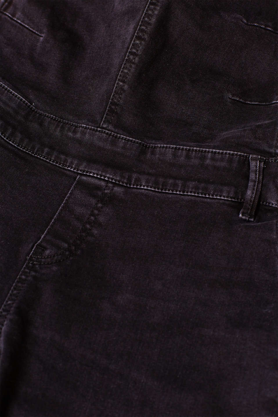 Stretch dungarees in robust black denim, LCBLACK DARKWASH, detail image number 4
