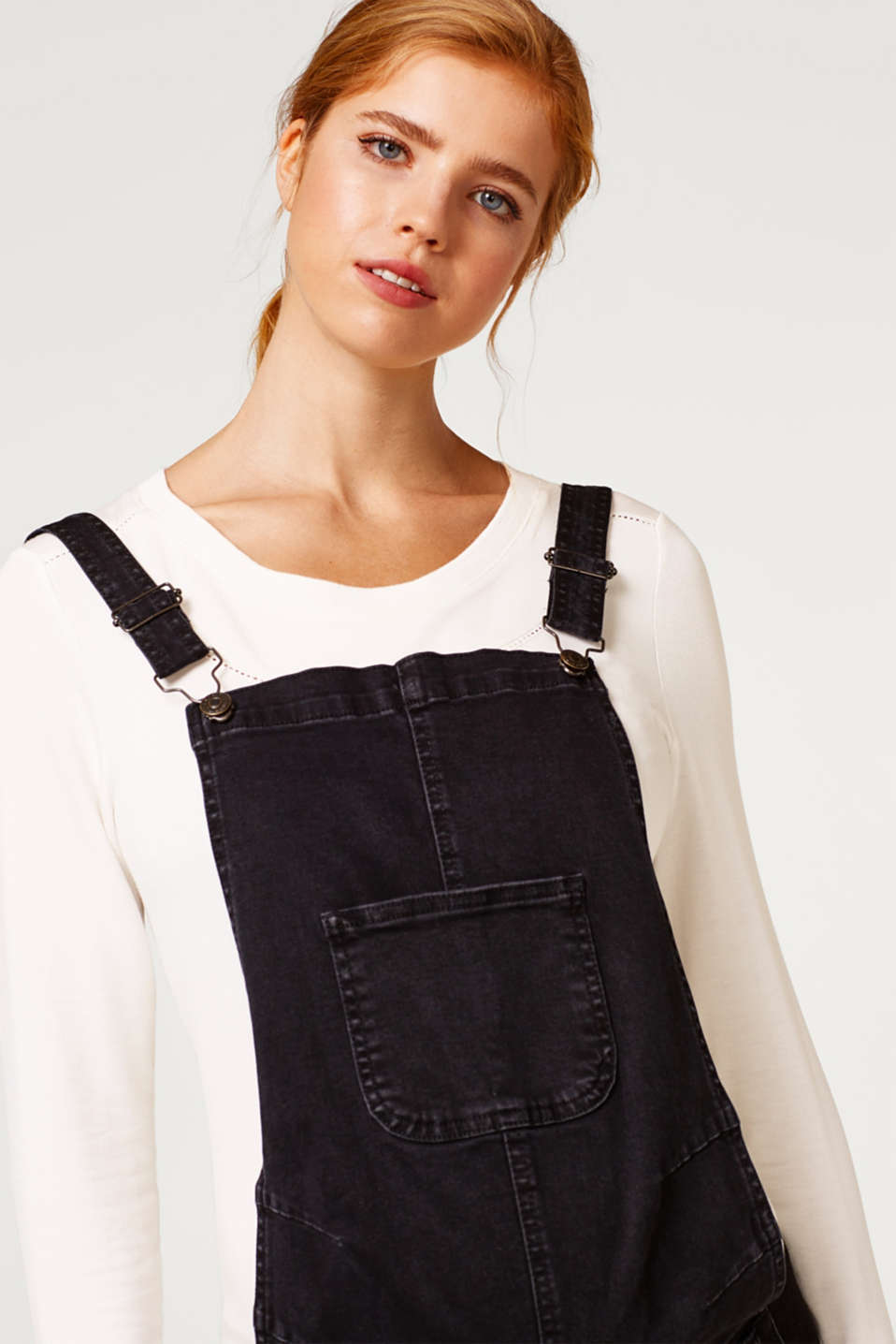 Stretch dungarees in robust black denim, LCBLACK DARKWASH, detail image number 5
