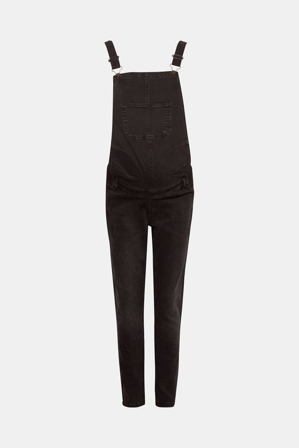 Stretch dungarees in robust black denim, LCBLACK DARKWASH, detail image number 7