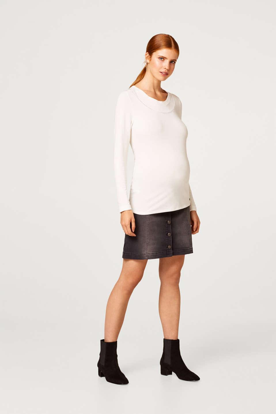 Super stretch denim skirt with an under-bump waistband, LCBLACK DARKWASH, detail image number 6