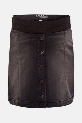 Super stretch denim skirt with an under-bump waistband, LCBLACK DARKWASH, detail