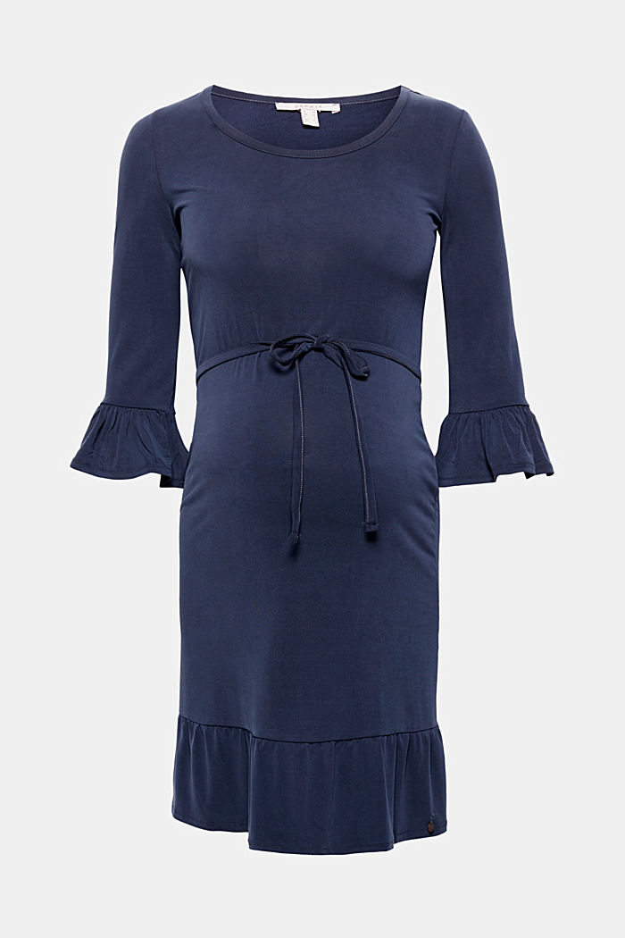 Stretch jersey dress with flounces, NIGHT BLUE, detail image number 0