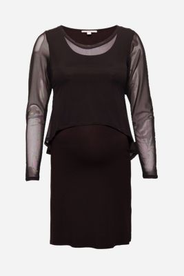 Layered dress with nursing feature, LCBLACK, detail