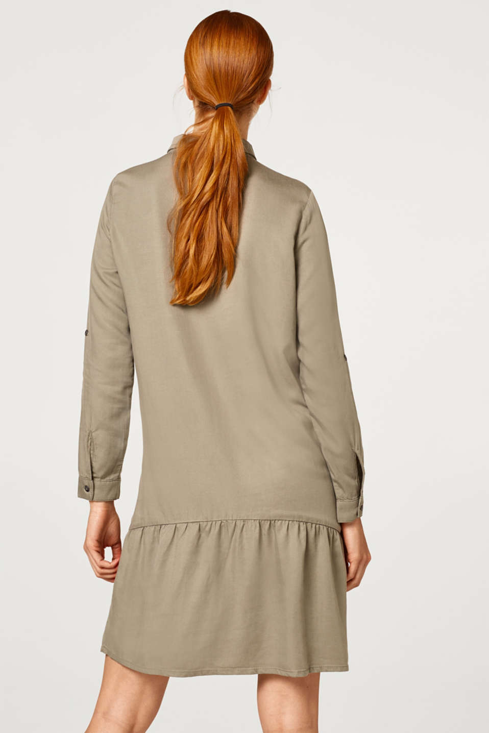 Shirt dress with a flounce hem, LCREAL OLIVE, detail image number 3