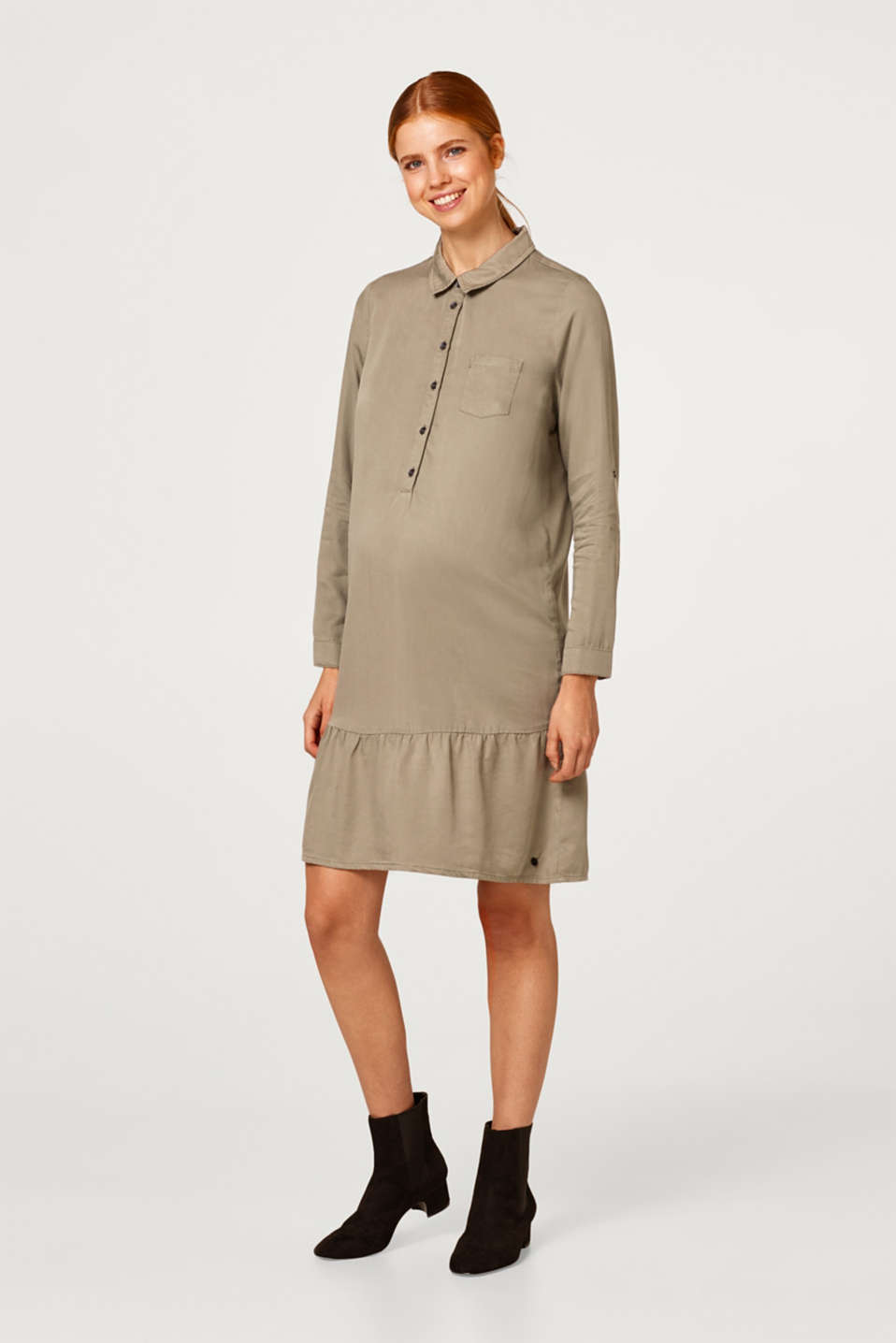 Shirt dress with a flounce hem, LCREAL OLIVE, detail image number 1