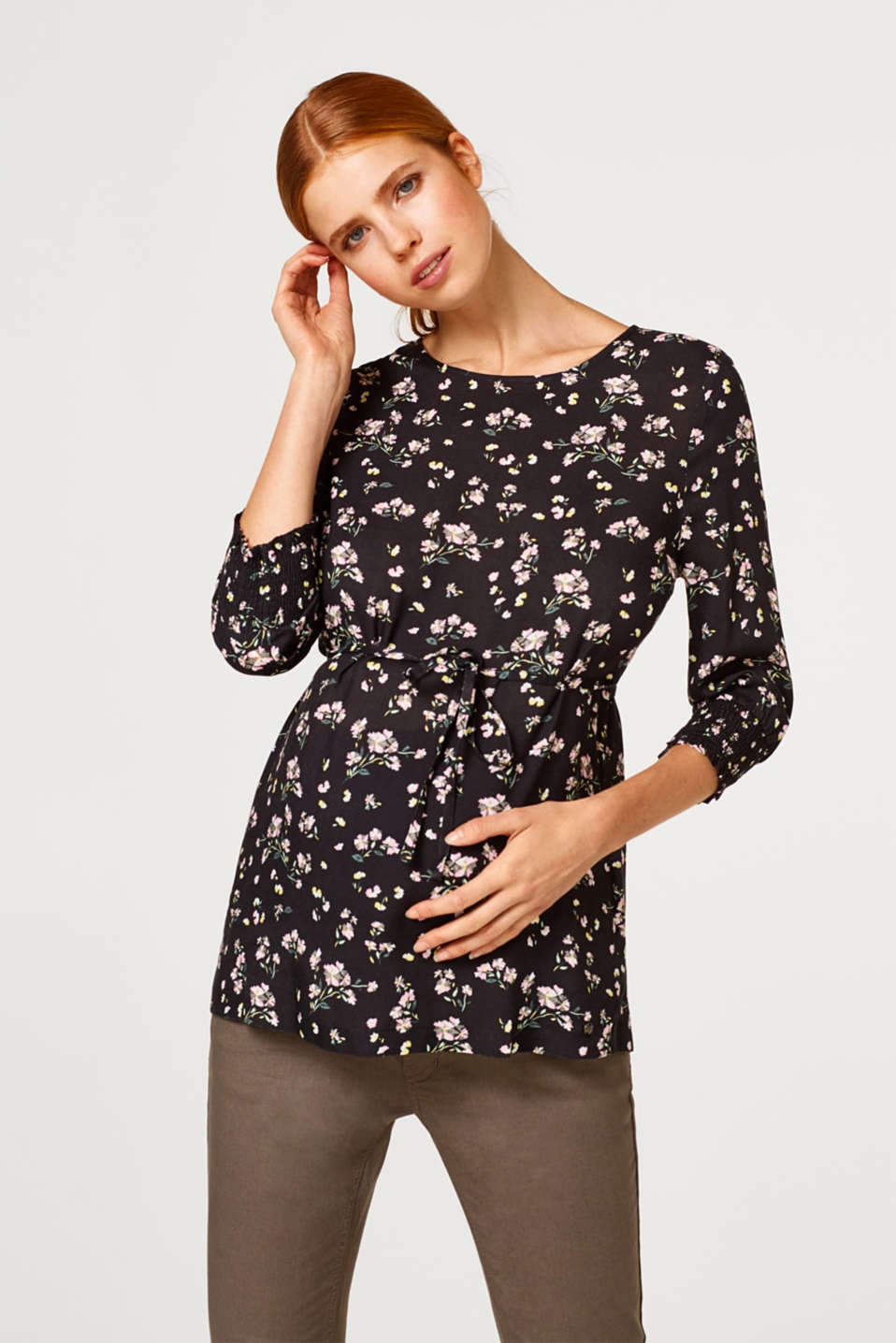 Esprit - Printed blouse with smocked sleeves