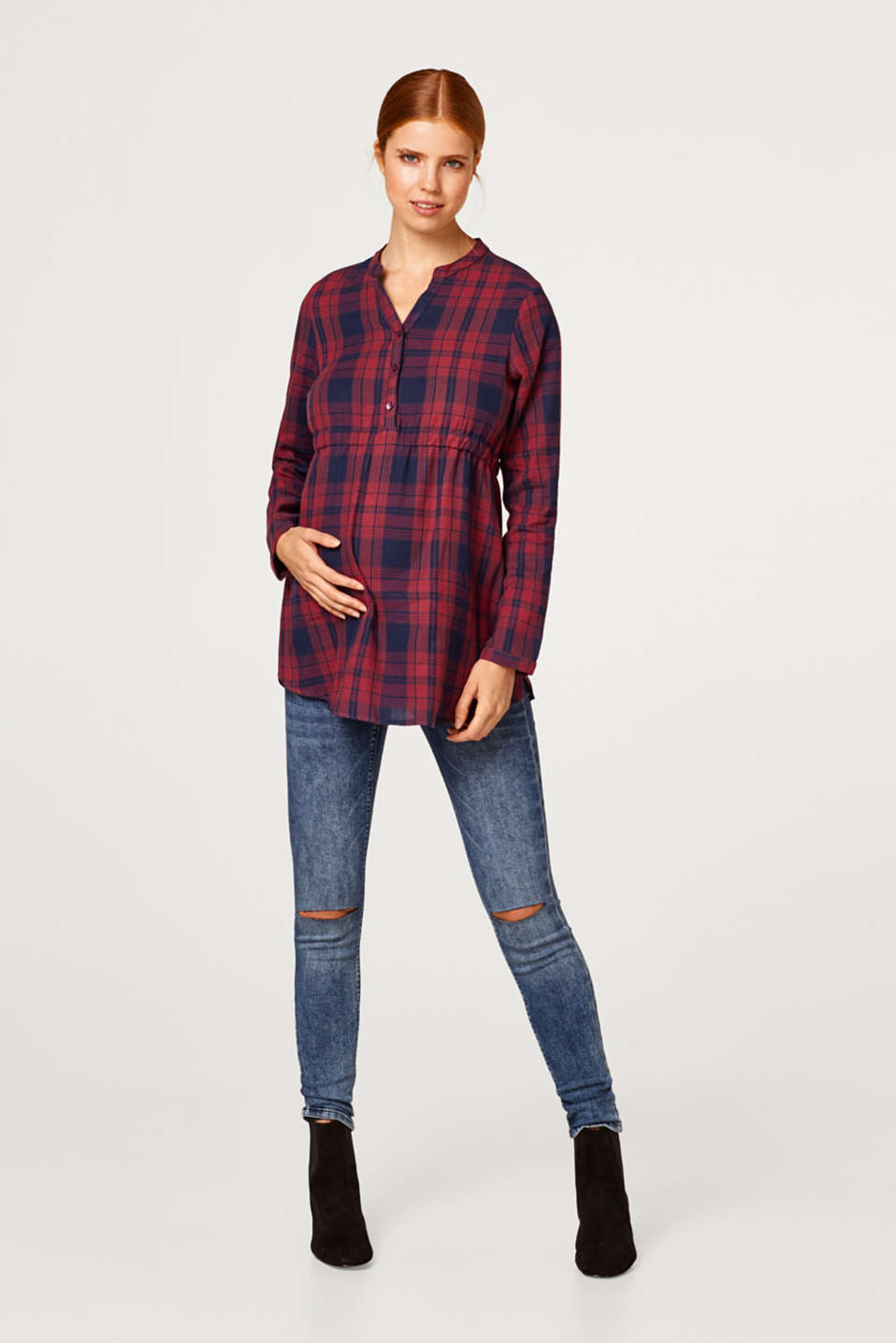 Empire blouse with checks, 100% cotton