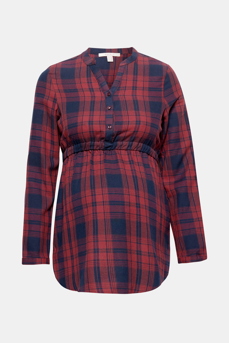 Esprit - Empire blouse with checks, 100% cotton