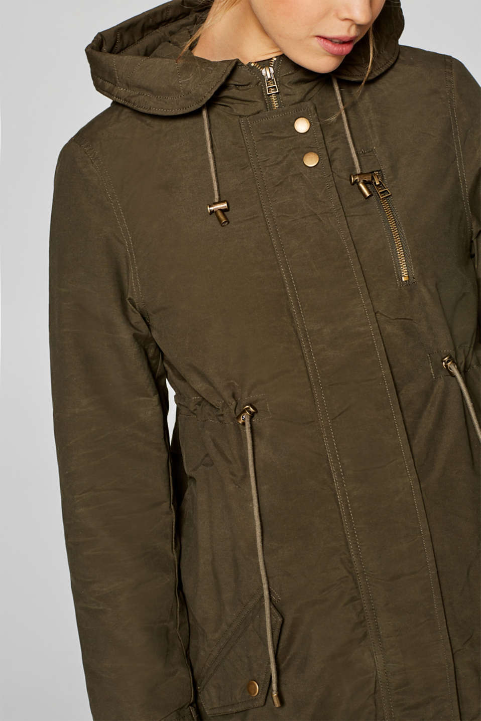 Cotton parka with teddy fur, LCNAVY, detail image number 2
