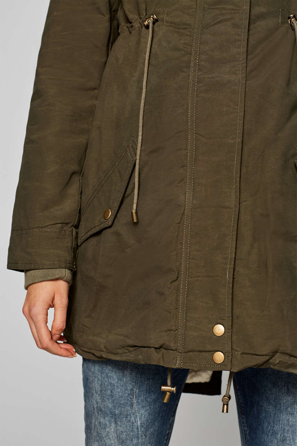 Cotton parka with teddy fur, LCNAVY, detail image number 5