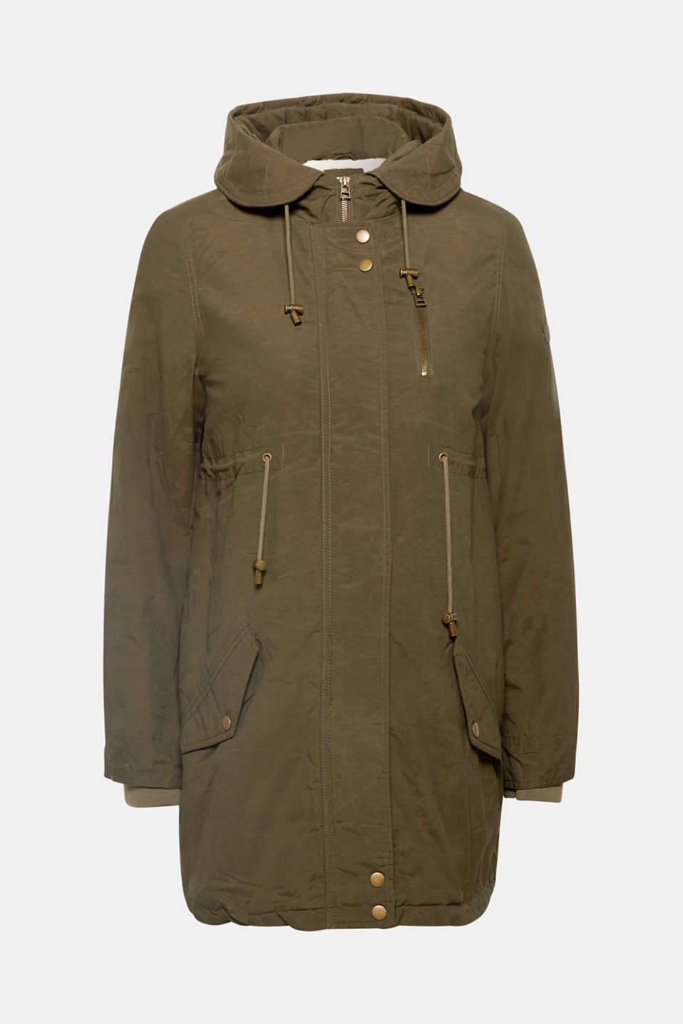 Cotton parka with teddy fur, LCNAVY, detail image number 7