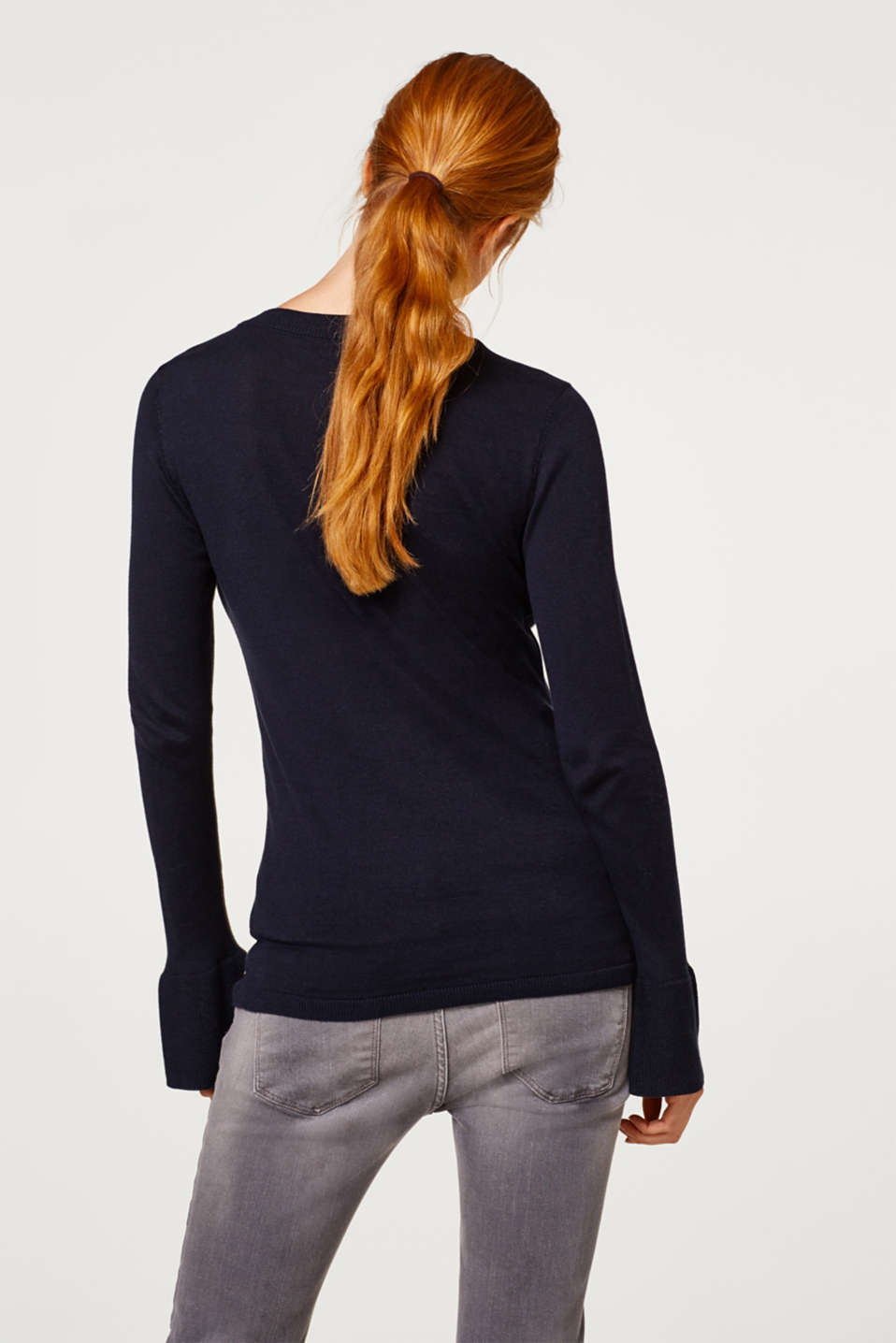 Basic jumper with flounce sleeves, LCNIGHT BLUE, detail image number 3