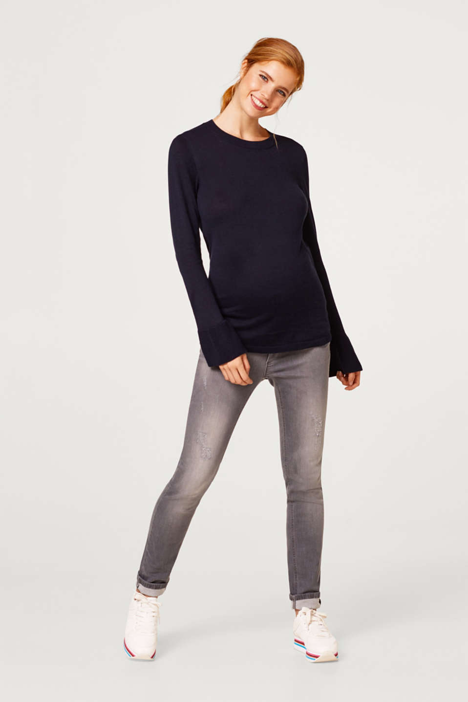 Basic jumper with flounce sleeves, LCNIGHT BLUE, detail image number 1