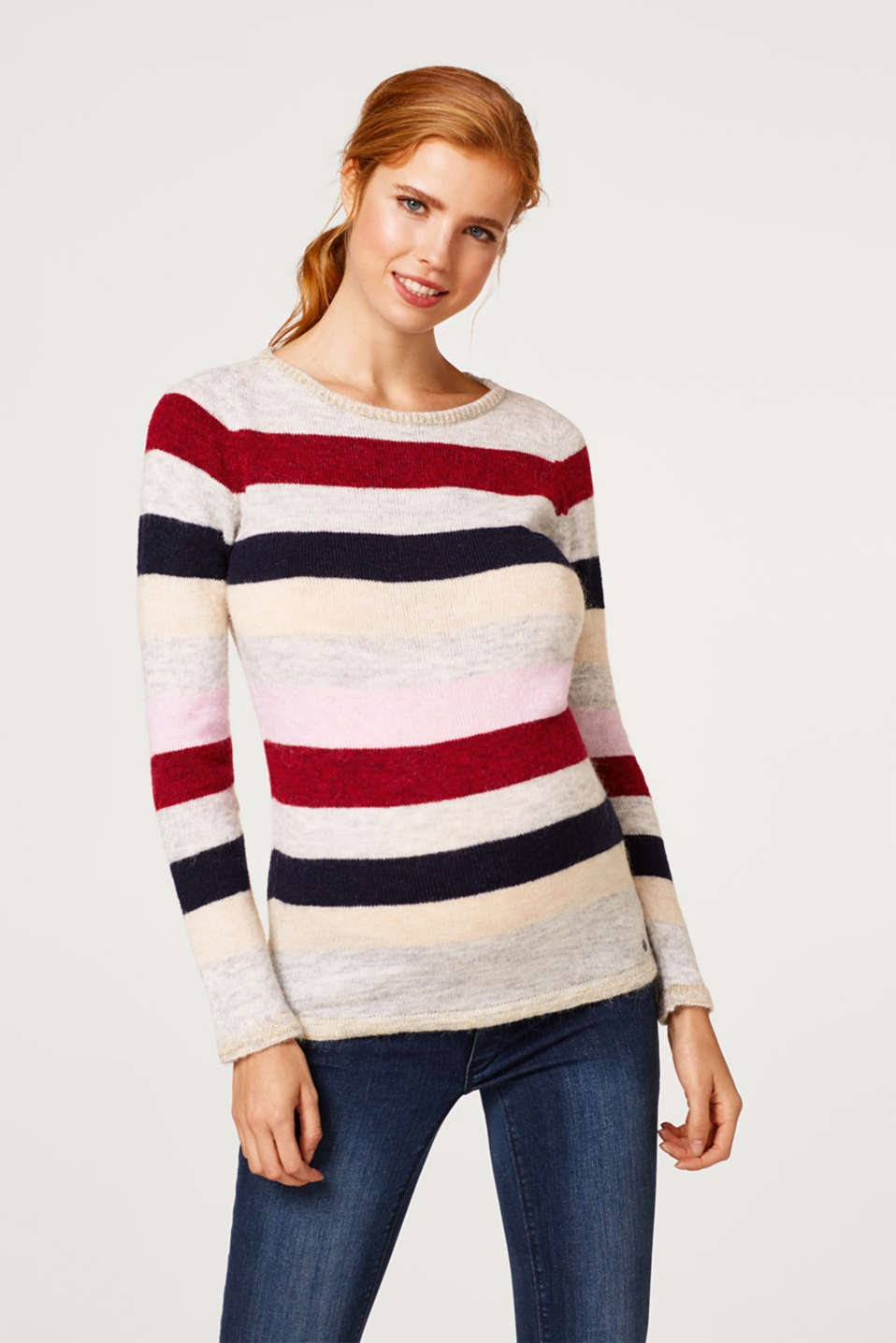 Lightweight block stripe jumper with glitter, LCRED SALMON, detail image number 0
